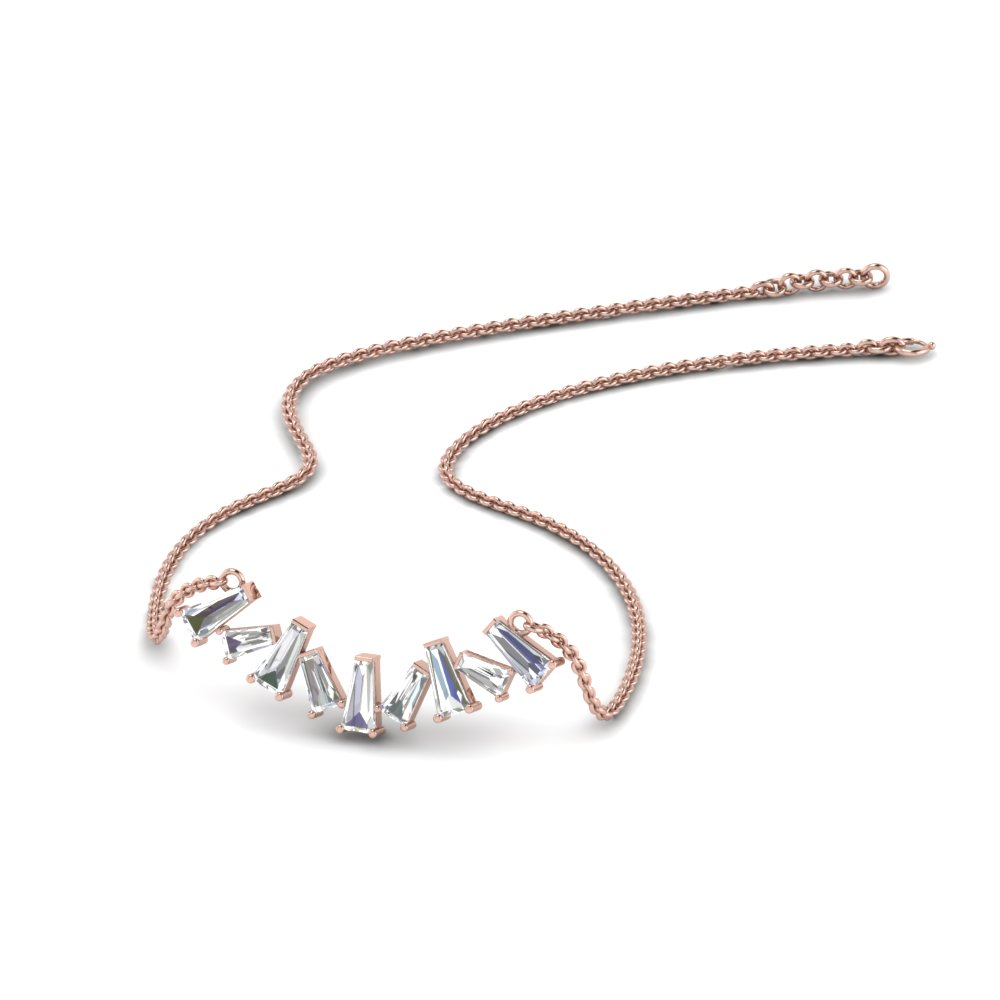 Zigzag Baguette Diamond Necklace In 14K Rose Gold