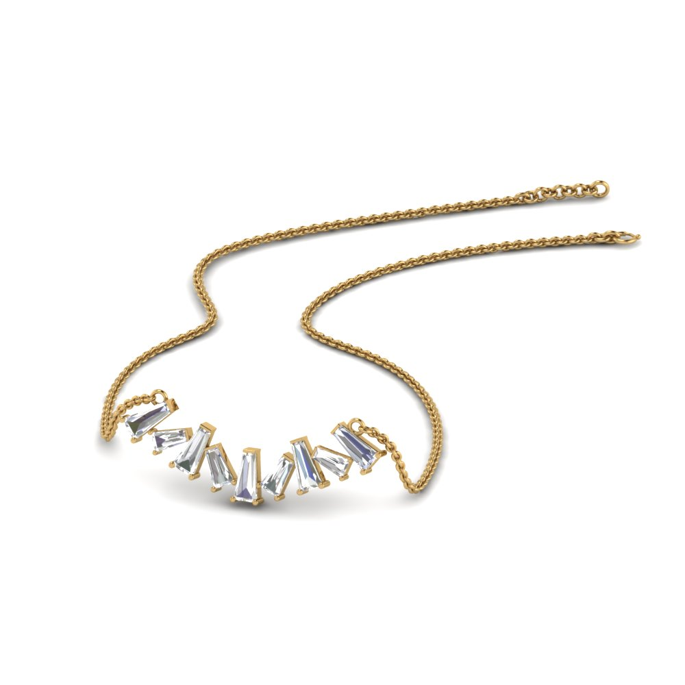 Zigzag Baguette Diamond Necklace In 14K Yellow Gold